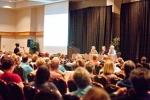 Ethics Forum - Helen Sullivan (L), T.R. Reid (C) and Dr. Stefan Mokrohisky (R)
