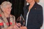 Linda Pearson (R) wins Loretta C. Ford Lifetime Achievement Award, presented by Loretta Ford (L)